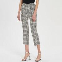 【5.10日抢购价:65】MECITY女装时尚商务时髦格纹西裤直筒