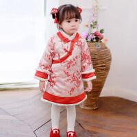 宝宝旗袍女童冬棉衣中国风唐装儿童旗袍礼服红粉 73(73cm 70-75cm)