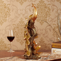 树脂工艺品 现代风格黄金彩色凤凰家居摆件 创意情侣礼品 图片色 22292J16.5*12.5*42