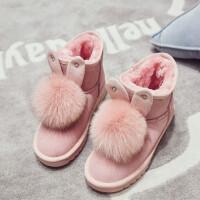雪地靴女2018新款加绒短筒厚底韩版百搭学生可爱防滑兔耳朵棉鞋冬SN6003