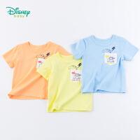 迪士尼Disney童装 男童纯棉T恤夏季新款卡通贴袋上衣男孩帅气肩开体恤192S1114