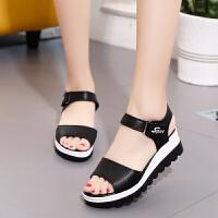 夏季新款高跟凉鞋女学生韩版粗跟厚底松糕平底百搭坡跟鱼嘴女鞋子