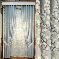 北欧棉麻遮光窗帘成品现代简约韩式客厅卧室纱帘布绣花 需要几米拍几件(新款)
