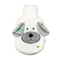 德国fashy 白色小狗热水袋 0.8L 儿童卡通充注水热水袋防爆暖水袋