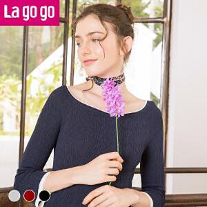 Lagogo2018春季新款修身一字领弹力针织衫女七分袖秋冬套头打底衫