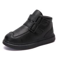 冬季儿童棉鞋8男童鞋子二棉鞋男孩9皮鞋加绒保暖冬鞋12中大童15岁