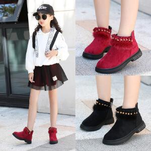 女童靴子加绒2018秋冬新款儿童马丁靴保暖二棉靴女孩韩版时尚短靴