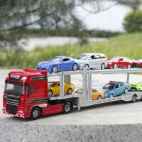 双层汽车运输车半挂车工程车儿童玩具车 金属车模 凯迪威汽车运输车