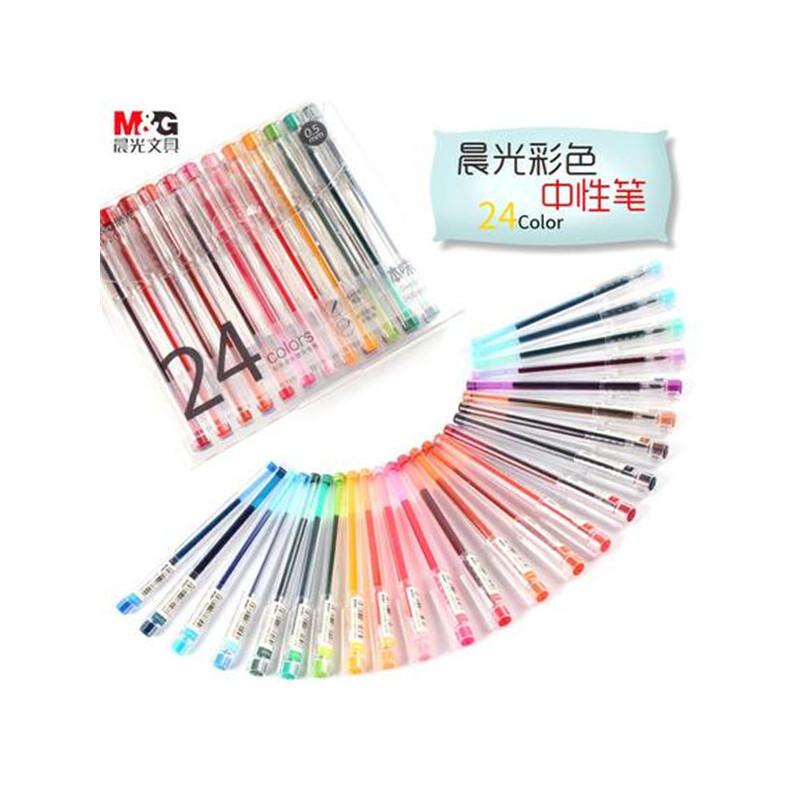 【单件包邮】晨光本味清新彩色中性笔A9206学生全针管0.5糖果色手账笔水笔24色