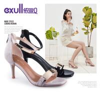 依思q夏季新款时尚金属一字带女鞋百搭细跟高跟凉鞋