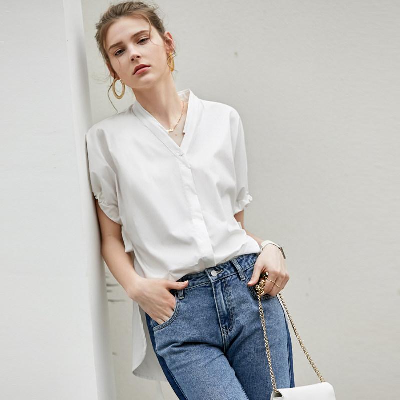 【到手价129元】Amii极简法式欧货休闲衬衫女2019夏季新款宽松V领绑带短袖上衣 AMII-极简主义女装领导者!