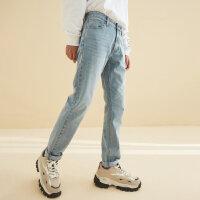 【1件5折到手价:132.5,4月10日0点】美特斯邦威直筒牛仔裤男2020新款春季潮搭配帅气休闲浅色男士裤子