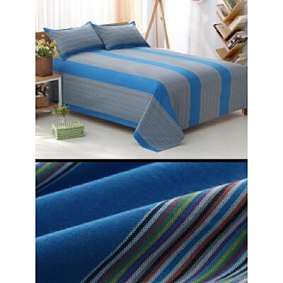老粗布床单单件双人加厚亚麻被单单人夏季棉麻床单 孔雀蓝 【不起球】