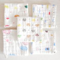 婴儿口水巾喂奶巾用品棉纱布洗脸小毛巾方巾手绢手帕 5条装 6层水洗纱布毛巾