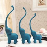 树脂工艺品 现代简约蓝色三只小象摆件 橱窗家居装饰品 创意礼品 9.5*5.5*27