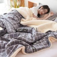 棉毛毯加厚法兰珊瑚绒毯子保暖秋冬季被子床单学生单人宿舍男女用 200*230cm 4.3斤(加大双人毯:全棉磨毛