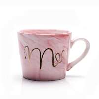 马克杯 男女子欧式大理石纹陶瓷办公室杯有手柄带勺ins水杯咖啡礼品耐高温大容量简约情侣杯