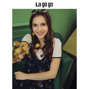 Lagogo2018年夏季新款女装短袖学院风上衣宽松印花T恤两件套chic HASS805Y11