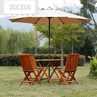 ZUCZUG实木户外桌椅套装带太阳伞庭院休闲桌椅组合阳台花园家具折叠餐桌
