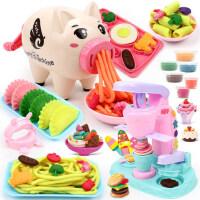 儿童冰淇淋粘土女孩6玩具3彩泥面条机小猪无毒橡皮泥模具工具套装