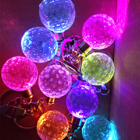 水晶钥匙扣挂件 七彩发光仪水晶吊坠 创意生日礼物
