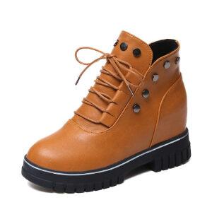 WARORWAR新品YM147-A588秋冬休闲内增高铆钉女士靴子短靴马丁靴