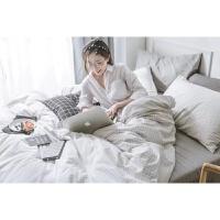 欧式抖音少女床单四件套纯棉全棉网红水洗棉被套宿舍床上三件套 黑白色 本白格子+浅灰