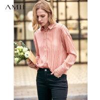 Amii极简法式设计感小众衬衫女2019秋新款上衣后领开衩条纹雪纺衫
