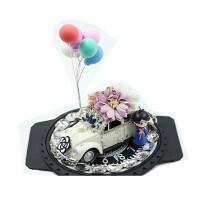 老爷车车载摆件花朵蝴蝶结汽车饰品香水座女士车内装饰 其他颜色 三朵花宝石气球款