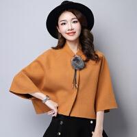 2017秋冬款女装韩版羊毛呢短外套斗篷型披肩针织衫七分蝙蝠袖