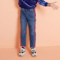 【1件3折到手价:44.97】moomoo童装男童牛仔裤春秋新款韩版潮中大童撞色阔腿儿童长裤