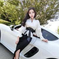 女装春装2018新款潮套装V领百搭喇叭袖衬衫+针织包臀半身裙套装