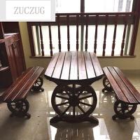 ZUCZUG炭化防腐木餐桌椅户外休闲桌椅烧烤聚会酒吧桌椅双人车轮桌椅