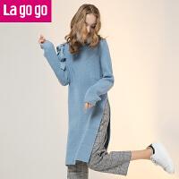 【618大促-每满100减50】Lagogo/拉谷谷2017年冬季新款时尚圆领高开衩针织衫