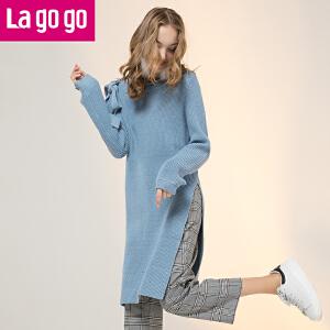 【秒杀价137】Lagogo/拉谷谷2019年冬季新款时尚圆领高开衩针织衫