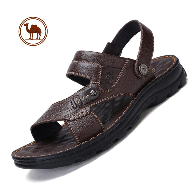 骆驼牌男凉拖鞋新款凉鞋夏季休闲拖鞋真皮透气男士防滑沙滩鞋