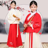 儿童汉服女小孩中国风女童国学服童装表演服绣花曲裾舞蹈演出服装