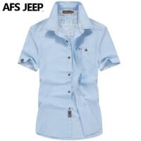 AFS JEEP亚麻短袖衬衫男2016年夏季新款男士宽松大码衬衣半袖3102