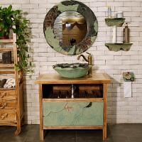 中式洗手盆浴室柜组合创意艺术台上盆个性洗脸盆乡村酒店洗手池
