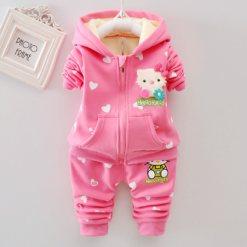 女童套装秋冬装2017新款女宝宝套装婴儿套装加绒小童两件套装