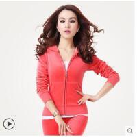 新款金丝天鹅绒运动套装时尚女运动服套装休闲健身卫衣