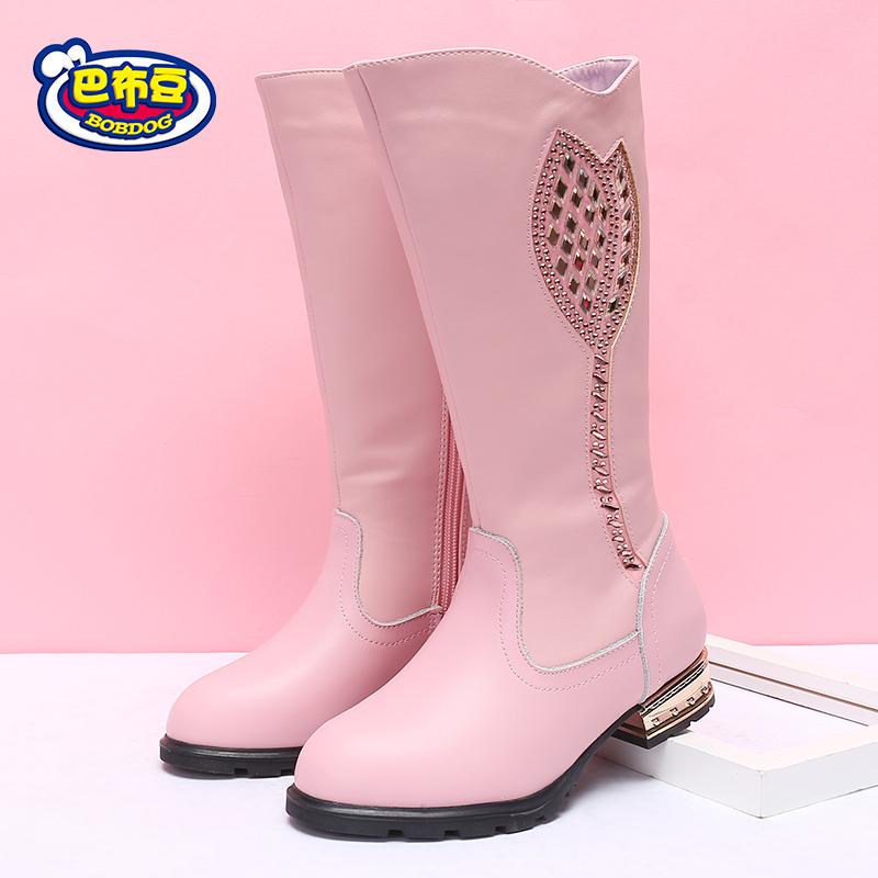 巴布豆童鞋 女童靴子2017新款冬季鞋中大童加绒高筒靴保暖公主靴