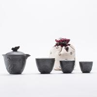 一壶二三杯快客茶杯整套套装粗陶泡茶杯便携旅行功夫茶具陶瓷