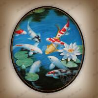 圆形油画手绘欧式挂画美式九鱼图客厅玄关走廊北欧新中式装饰画 80*100手绘 单幅