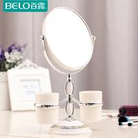 百露台式化妆镜双面旋转梳妆镜便携结婚公主镜3倍高清放大台镜子