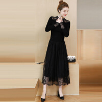 春季新款大码女装毛线拼接显瘦过膝长袖裙子秋冬款蕾丝打底连衣裙 黑色