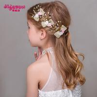 女童饰品 儿童发卡粉色发饰女孩头饰韩式蝴蝶结花朵发夹