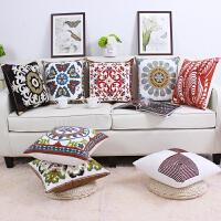 现代田园绣花棉靠垫床头沙发椅子护腰靠背汽车用抱枕套含芯