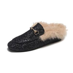 WARORWAR新品YM32-K69冬季韩版平底舒适女士毛毛单鞋