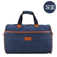 韩版短途帆布旅行包女休闲包大容量行李包男包旅游包健身包 深蓝色 大